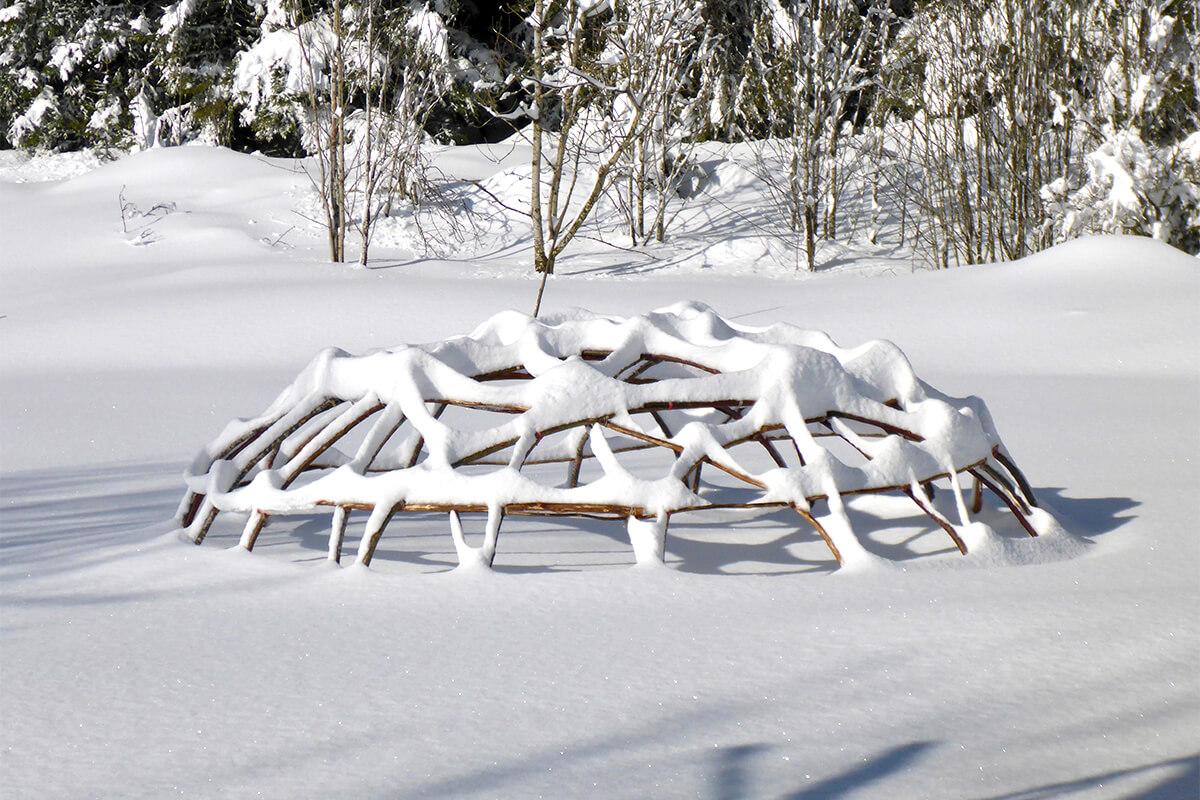 Schwitzhütte im Winter, Schwarzwald, Ritual Zeremonie für Männer und Frauen